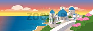 Santorini islands flat color vector illustration