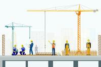 Betonbauer und Hochbauer auf der Baustelle, Illustration