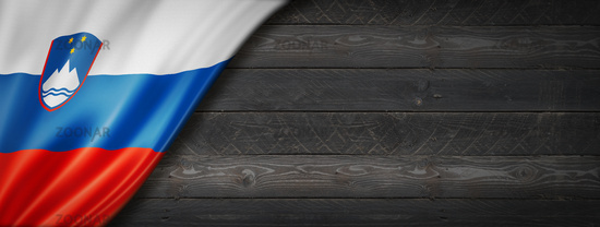 Slovenian flag on black wood wall banner