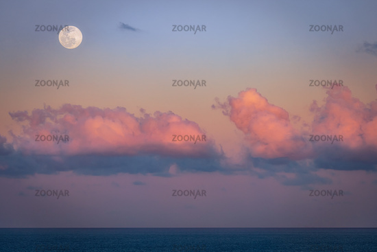 A beautiful setting moon over the Atlantic Ocean. Florida, USA.