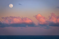 A beautiful setting moon over the Atlantic Ocean. Florida, USA.