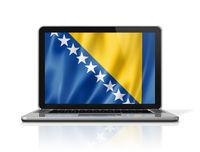 Bosnia and Herzegovinan flag on laptop screen isolated on white. 3D illustration