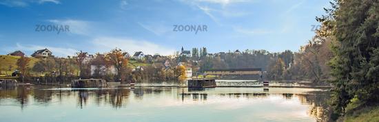 Rheinau with Rhine bridge and mountain church, Switzerland