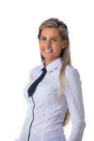 Business woman portrait on white