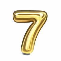 Golden font Number 7 SEVEN 3D