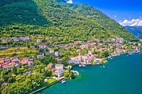 Laglio. Idyllic town of Laglio on Como lake aerial view