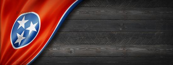 Tennessee flag on black wood wall banner, USA