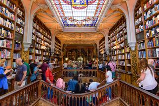 Interior of Lello Bookstore, one of the most beautiful bookstores in the world, in Porto, Portugal
