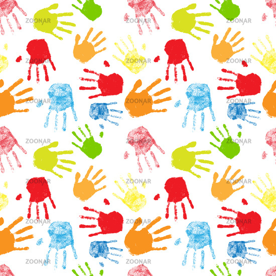 Colorful silhouettes of human palm prints, seamless pattern on white