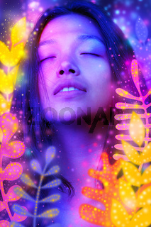 A digitally manipulated artistic colorful portrait of a woman with glowing floral elements