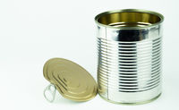 Tin can on white background