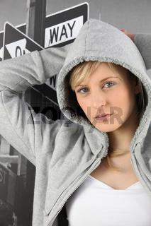 young woman wearing sweatshirt