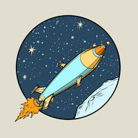Space Retro Rocket. Startup symbol. Space transport jet engine