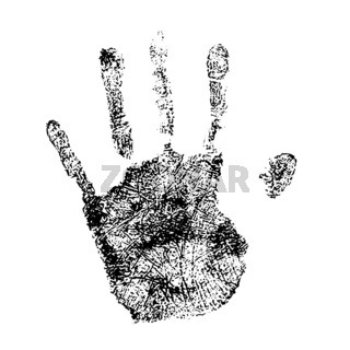 Human palm print simple black detailed silhouette on white