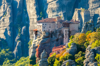 Rock Monastery in Meteora Near the Big Mountain