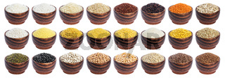 Different cereals, grains and flakes isolated on white background with clipping path