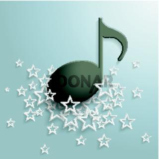 Black Music Note White Stars