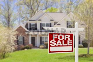 Home For Sale Real Estate Sign and House