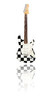 electric guitar, checkered flag
