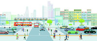 City silhouette with people on the sidewalk and road traffic illustration