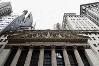 Low angle view of New Stock Stock Exchange building in New York