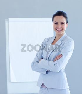 Friendly businesswoman giving a presentation