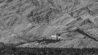 Matho Monastery and the Zanskar Mountains' rock layers in BW
