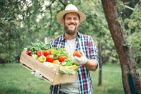 Happy man farmer with vegetables