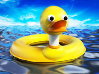 Yellow duck lifebuoy standing on sea surface. 3D illustration