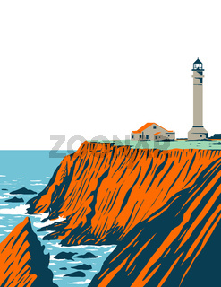 Point Arena Lighthouse in Mendocino County Located in California Coastal National Monument Coast of California WPA Poster Art
