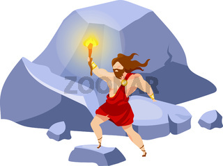 Prometheus flat vector illustration. Divine hero stealing fire. Preolympian titan with beacon on mountain. Traveling and exploring. Man with torch isolated cartoon character on white background
