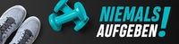 Motivational fitness header - Never give up in german - Niemals Aufgeben
