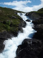 A waterfall close to the Rallarvegen in Norway
