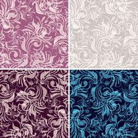 Set gentle seamless floral pattern