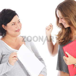 Teacher showing student her results