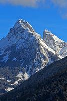 Summits Dent d'Oche, left, and Château d'Oche in winter, Chablais, Haute-Savoie, France