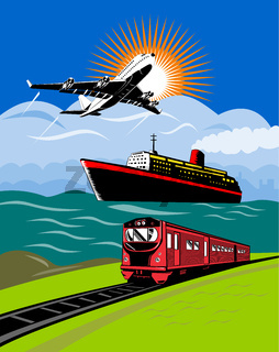 airplane boat and train