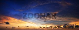 Amazing sunset. Panoramic shot.