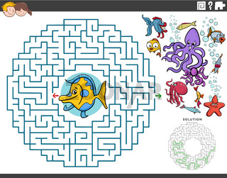 maze educational game with cartoon fish and sea animals