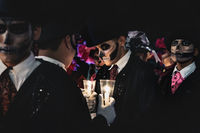 Event for day of the dead, Men with skull make up at the 'Festival de las Animas' in Merida, Mexico