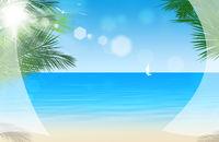View Through Window Curtains at Tropical Beach