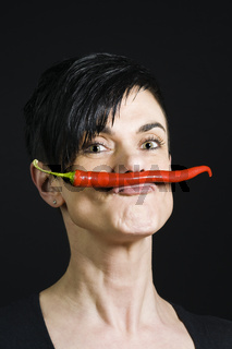 woman with chilli