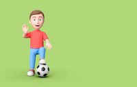 Kid 3D Cartoon Character Standing with Soccer Ball on Green with Copy Space