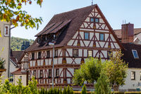 Historic half-timbered house in the city Meiningen