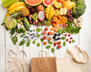 Shopping for vegetables and fruits using eco-bags