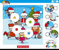 match pieces game with cartoon kids on Christmas time