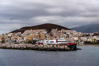 The harbour of Los Cristianos with ferry ready to depart