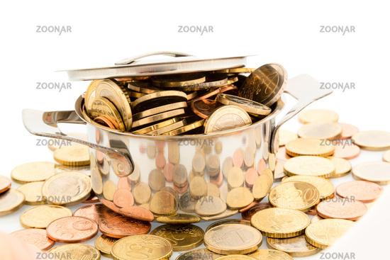 Saucepan and Euro Coins