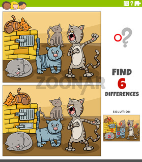 differences educational game with cartoon funny cats