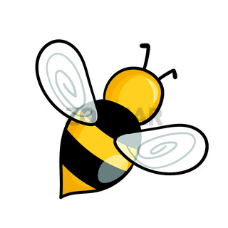 Cartoon bee mascot. A small bees flies. Wasp collection. Vector characters. Incest icon. Template design for invitation, cards. Doodle style
